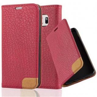 Cadorabo Hülle für Samsung Galaxy S6 EDGE - Hülle in ABEND ROT ? Handyhülle mit Standfunktion, Kartenfach und Textil-Patch - Case Cover Schutzhülle Etui Tasche Book Klapp Style