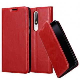 Cadorabo Hülle für Nokia 5.1 PLUS in APFEL ROT Handyhülle mit Magnetverschluss, Standfunktion und Kartenfach Case Cover Schutzhülle Etui Tasche Book Klapp Style