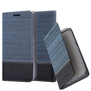 Cadorabo Hülle für HTC Desire 12 in DUNKEL BLAU SCHWARZ - Handyhülle mit Magnetverschluss, Standfunktion und Kartenfach - Case Cover Schutzhülle Etui Tasche Book Klapp Style