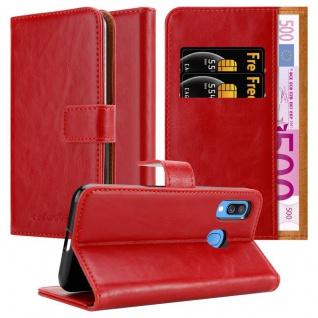 Cadorabo Hülle für Samsung Galaxy A40 in WEIN ROT Handyhülle mit Magnetverschluss, Standfunktion und Kartenfach Case Cover Schutzhülle Etui Tasche Book Klapp Style