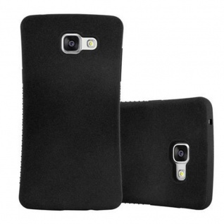 Cadorabo Hülle für Samsung Galaxy A5 2016 - Hülle in MINERAL SCHWARZ ? Small Waist Handyhülle mit rutschfestem Gummi-Rücken - Hard Case TPU Silikon Schutzhülle