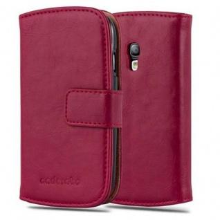 Cadorabo Hülle für Samsung Galaxy S3 MINI in WEIN ROT ? Handyhülle mit Magnetverschluss, Standfunktion und Kartenfach ? Case Cover Schutzhülle Etui Tasche Book Klapp Style