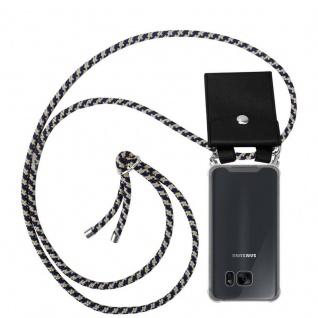 Cadorabo Handy Kette für Samsung Galaxy S7 EDGE in DUNKELBLAU GELB - Silikon Necklace Umhänge Hülle mit Silber Ringen, Kordel Band Schnur und abnehmbarem Etui - Schutzhülle