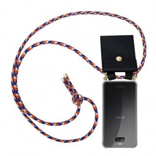 Cadorabo Handy Kette für Sony Xperia 10 in ORANGE BLAU WEISS - Silikon Necklace Umhänge Hülle mit Gold Ringen, Kordel Band Schnur und abnehmbarem Etui ? Schutzhülle