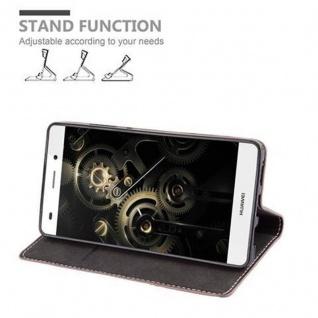 Cadorabo Hülle für Huawei P8 LITE 2015 in GOLD SCHWARZ - Handyhülle mit Magnetverschluss, Standfunktion und Kartenfach - Case Cover Schutzhülle Etui Tasche Book Klapp Style - Vorschau 5