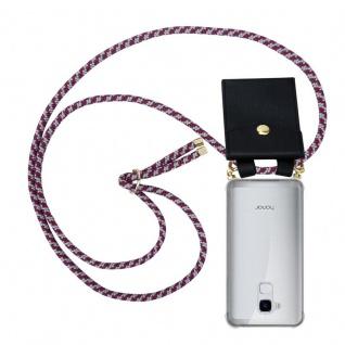 Cadorabo Handy Kette für Honor 5C in ROT WEISS Silikon Necklace Umhänge Hülle mit Gold Ringen, Kordel Band Schnur und abnehmbarem Etui Schutzhülle