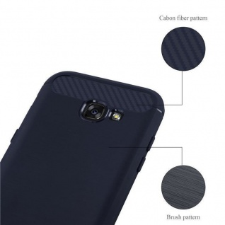 Cadorabo Hülle für Samsung Galaxy A3 2017 (7) - Hülle in BRUSHED BLAU - Handyhülle aus TPU Silikon in Edelstahl-Karbonfaser Optik - Silikonhülle Schutzhülle Ultra Slim Soft Back Cover Case Bumper - Vorschau 4
