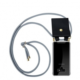 Cadorabo Handy Kette für Samsung Galaxy NOTE 9 in SILBER GRAU - Silikon Necklace Umhänge Hülle mit Gold Ringen, Kordel Band Schnur und abnehmbarem Etui ? Schutzhülle