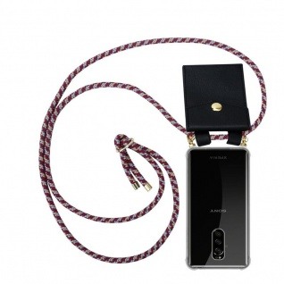 Cadorabo Handy Kette für Sony Xperia 1 in ROT GELB WEISS - Silikon Necklace Umhänge Hülle mit Gold Ringen, Kordel Band Schnur und abnehmbarem Etui ? Schutzhülle