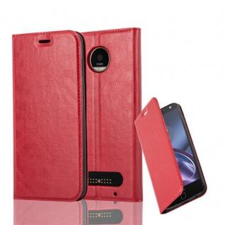 Cadorabo Hülle für Motorola MOTO Z2 in APFEL ROT Handyhülle mit Magnetverschluss, Standfunktion und Kartenfach Case Cover Schutzhülle Etui Tasche Book Klapp Style