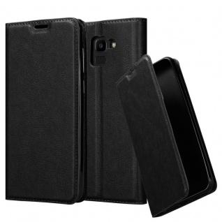 Cadorabo Hülle für Samsung Galaxy J6 2018 in NACHT SCHWARZ - Handyhülle mit Magnetverschluss, Standfunktion und Kartenfach - Case Cover Schutzhülle Etui Tasche Book Klapp Style