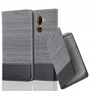 Cadorabo Hülle für Nokia 7 PLUS in GRAU SCHWARZ - Handyhülle mit Magnetverschluss, Standfunktion und Kartenfach - Case Cover Schutzhülle Etui Tasche Book Klapp Style