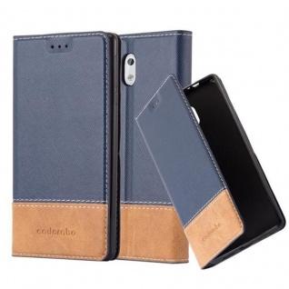 Cadorabo Hülle für Nokia 3 2017 in BLAU BRAUN ? Handyhülle mit Magnetverschluss, Standfunktion und Kartenfach ? Case Cover Schutzhülle Etui Tasche Book Klapp Style
