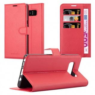 Cadorabo Hülle für Samsung Galaxy NOTE 8 in KARMIN ROT - Handyhülle mit Magnetverschluss, Standfunktion und Kartenfach - Case Cover Schutzhülle Etui Tasche Book Klapp Style