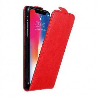 Cadorabo Hülle für Apple iPhone X / XS in APFEL ROT - Handyhülle im Flip Design mit unsichtbarem Magnetverschluss - Case Cover Schutzhülle Etui Tasche Book Klapp Style
