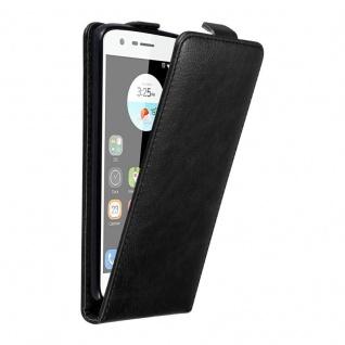 Cadorabo Hülle für ZTE BLADE V8 MINI in NACHT SCHWARZ - Handyhülle im Flip Design mit unsichtbarem Magnetverschluss - Case Cover Schutzhülle Etui Tasche Book Klapp Style