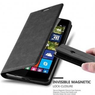 Cadorabo Hülle für Nokia Lumia 540 in NACHT SCHWARZ - Handyhülle mit Magnetverschluss, Standfunktion und Kartenfach - Case Cover Schutzhülle Etui Tasche Book Klapp Style