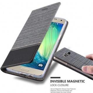 Cadorabo Hülle für Samsung Galaxy A5 2015 in GRAU SCHWARZ - Handyhülle mit Magnetverschluss, Standfunktion und Kartenfach - Case Cover Schutzhülle Etui Tasche Book Klapp Style