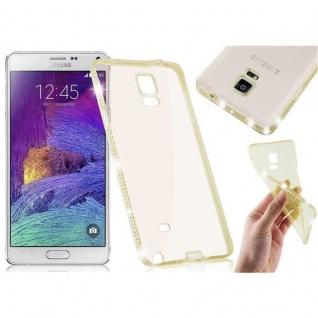 Cadorabo Hülle für Samsung Galaxy NOTE 4 - Hülle in TRANSPARENT GOLD ? Handyhülle aus TPU Silikon im Strass Design - Silikonhülle Schutzhülle Ultra Slim Soft Back Cover Case Bumper