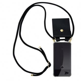 Cadorabo Handy Kette für Google Pixel 2 in SCHWARZ - Silikon Necklace Umhänge Hülle mit Gold Ringen, Kordel Band Schnur und abnehmbarem Etui ? Schutzhülle