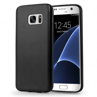 Cadorabo Hülle für Samsung Galaxy S7 in METALLIC SCHWARZ - Handyhülle aus flexiblem TPU Silikon - Silikonhülle Schutzhülle Ultra Slim Soft Back Cover Case Bumper