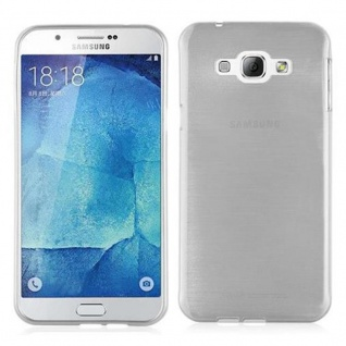 Cadorabo Hülle für Samsung Galaxy A8 2015 in SILBER - Handyhülle aus flexiblem TPU Silikon - Silikonhülle Schutzhülle Ultra Slim Soft Back Cover Case Bumper