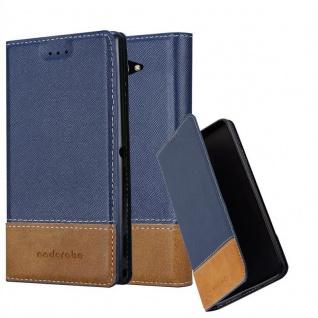 Cadorabo Hülle für Sony Xperia M2 / M2 AQUA in DUNKEL BLAU BRAUN - Handyhülle mit Magnetverschluss, Standfunktion und Kartenfach - Case Cover Schutzhülle Etui Tasche Book Klapp Style