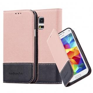 Cadorabo Hülle für Samsung Galaxy S5 MINI / S5 MINI DUOS in GOLD SCHWARZ Handyhülle mit Magnetverschluss, Standfunktion und Kartenfach Case Cover Schutzhülle Etui Tasche Book Klapp Style