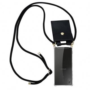 Cadorabo Handy Kette für Sony Xperia XA1 in SCHWARZ ? Silikon Necklace Umhänge Hülle mit Gold Ringen, Kordel Band Schnur und abnehmbarem Etui ? Schutzhülle