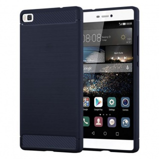 Cadorabo Hülle für Huawei P8 - Hülle in BRUSHED BLAU ? Handyhülle aus TPU Silikon in Edelstahl-Karbonfaser Optik - Silikonhülle Schutzhülle Ultra Slim Soft Back Cover Case Bumper