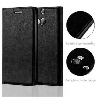Cadorabo Hülle für HTC One M8 in NACHT SCHWARZ - Handyhülle mit Magnetverschluss, Standfunktion und Kartenfach - Case Cover Schutzhülle Etui Tasche Book Klapp Style - Vorschau 2