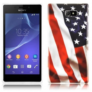 Cadorabo - Hard Cover für Sony Xperia M2 - Case Cover Schutzhülle Bumper im Design: STARS AND STRIPES