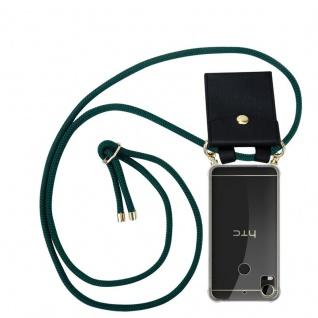 Cadorabo Handy Kette für HTC Desire 10 PRO in ARMEE GRÜN - Silikon Necklace Umhänge Hülle mit Gold Ringen, Kordel Band Schnur und abnehmbarem Etui ? Schutzhülle