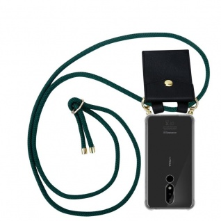 Cadorabo Handy Kette für Nokia 3.1 Plus in ARMEE GRÜN Silikon Necklace Umhänge Hülle mit Gold Ringen, Kordel Band Schnur und abnehmbarem Etui Schutzhülle