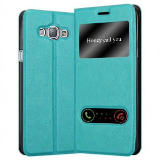 Cadorabo Hülle für Samsung Galaxy A8 2015 in MINT TÜRKIS ? Handyhülle mit Magnetverschluss, Standfunktion und 2 Sichtfenstern ? Case Cover Schutzhülle Etui Tasche Book Klapp Style