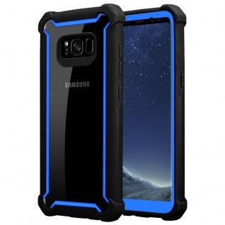 Cadorabo Hülle für Samsung Galaxy S8 in BLAU SCHWARZ - 2-in-1 Handyhülle mit TPU Silikon-Rand und Acryl-Glas-Rücken - Schutzhülle Hybrid Hardcase Back Case