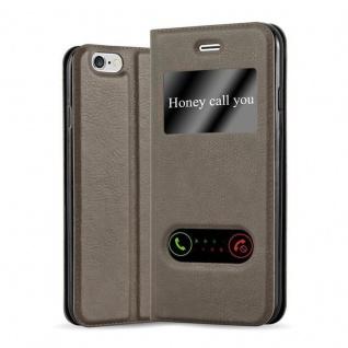 Cadorabo Hülle für Apple iPhone 6 PLUS / iPhone 6S PLUS in STEIN BRAUN - Handyhülle mit Magnetverschluss, Standfunktion und 2 Sichtfenstern - Case Cover Schutzhülle Etui Tasche Book Klapp Style