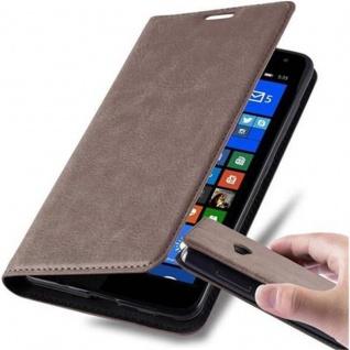 Cadorabo Hülle für Nokia Lumia 535 in KAFFEE BRAUN - Handyhülle mit Magnetverschluss, Standfunktion und Kartenfach - Case Cover Schutzhülle Etui Tasche Book Klapp Style