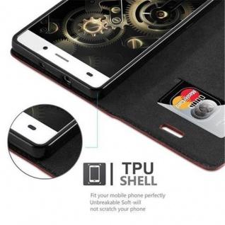 Cadorabo Hülle für Huawei P8 LITE 2015 in APFEL ROT - Handyhülle mit Magnetverschluss, Standfunktion und Kartenfach - Case Cover Schutzhülle Etui Tasche Book Klapp Style - Vorschau 3