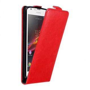 Cadorabo Hülle für Sony Xperia SP in APFEL ROT - Handyhülle im Flip Design mit unsichtbarem Magnetverschluss - Case Cover Schutzhülle Etui Tasche Book Klapp Style