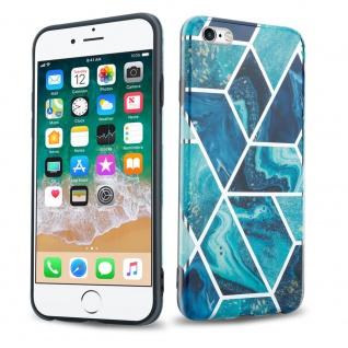 Cadorabo Hülle für Apple iPhone 6 / iPhone 6S Hülle in Blaue Welle Marmor No.13 Handyhülle aus TPU Silikon mit Muster Mosaik Silikonhülle Schutzhülle Ultra Slim Back Cover Case Bumper