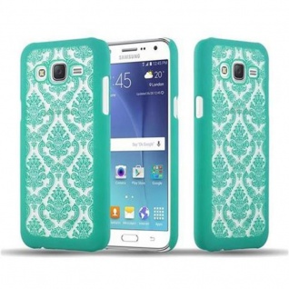 Samsung Galaxy J5 2015 Hardcase Hülle in GRÜN von Cadorabo - Blumen Paisley Henna Design Schutzhülle ? Handyhülle Bumper Back Case Cover