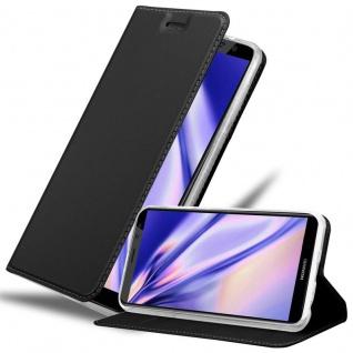 Cadorabo Hülle für Huawei MATE 10 LITE in CLASSY SCHWARZ - Handyhülle mit Magnetverschluss, Standfunktion und Kartenfach - Case Cover Schutzhülle Etui Tasche Book Klapp Style