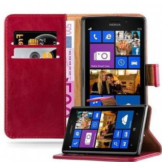Cadorabo Hülle für Nokia Lumia 925 in WEIN ROT ? Handyhülle mit Magnetverschluss, Standfunktion und Kartenfach ? Case Cover Schutzhülle Etui Tasche Book Klapp Style