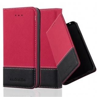 Cadorabo Hülle für Apple iPhone 5 / iPhone 5S / iPhone SE in ROT SCHWARZ ? Handyhülle mit Magnetverschluss, Standfunktion und Kartenfach ? Case Cover Schutzhülle Etui Tasche Book Klapp Style
