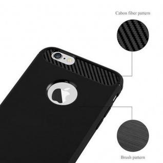 Cadorabo Hülle für Apple iPhone 6 / iPhone 6S - Hülle in BRUSHED SCHWARZ - Handyhülle aus TPU Silikon in Edelstahl-Karbonfaser Optik - Silikonhülle Schutzhülle Ultra Slim Soft Back Cover Case Bumper - Vorschau 5