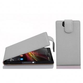 Cadorabo Hülle für Sony Xperia Z in MAGNESIUM WEIß - Handyhülle im Flip Design aus strukturiertem Kunstleder - Case Cover Schutzhülle Etui Tasche Book Klapp Style