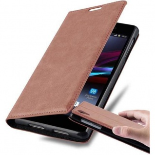 Cadorabo Hülle für Sony Xperia Z1 in CAPPUCCINO BRAUN - Handyhülle mit Magnetverschluss, Standfunktion und Kartenfach - Case Cover Schutzhülle Etui Tasche Book Klapp Style