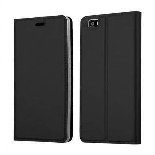 Cadorabo Hülle für Huawei P8 LITE in CLASSY SCHWARZ - Handyhülle mit Magnetverschluss, Standfunktion und Kartenfach - Case Cover Schutzhülle Etui Tasche Book Klapp Style