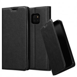 Cadorabo Hülle für Huawei MATE 20 PRO in NACHT SCHWARZ - Handyhülle mit Magnetverschluss, Standfunktion und Kartenfach - Case Cover Schutzhülle Etui Tasche Book Klapp Style